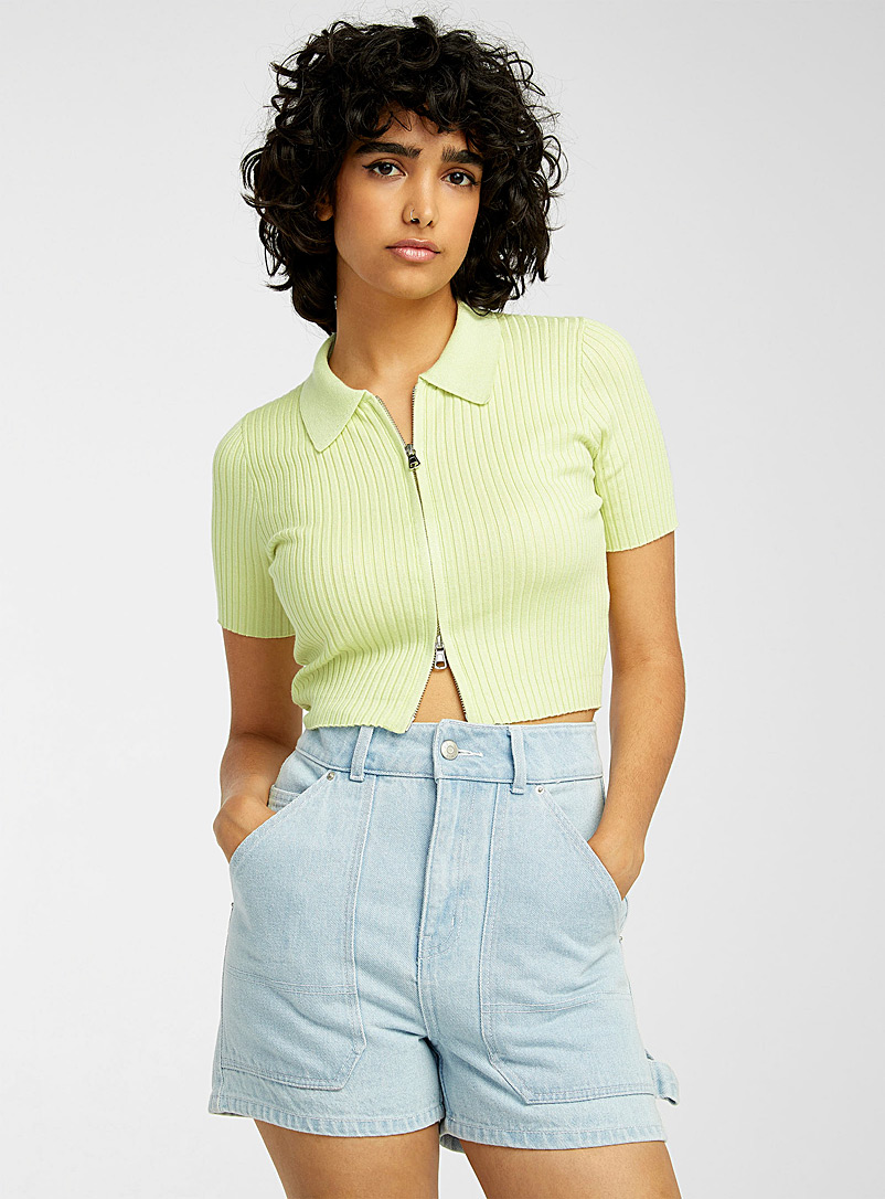 Twik Ivory White Ribbed zip-up cropped polo for women