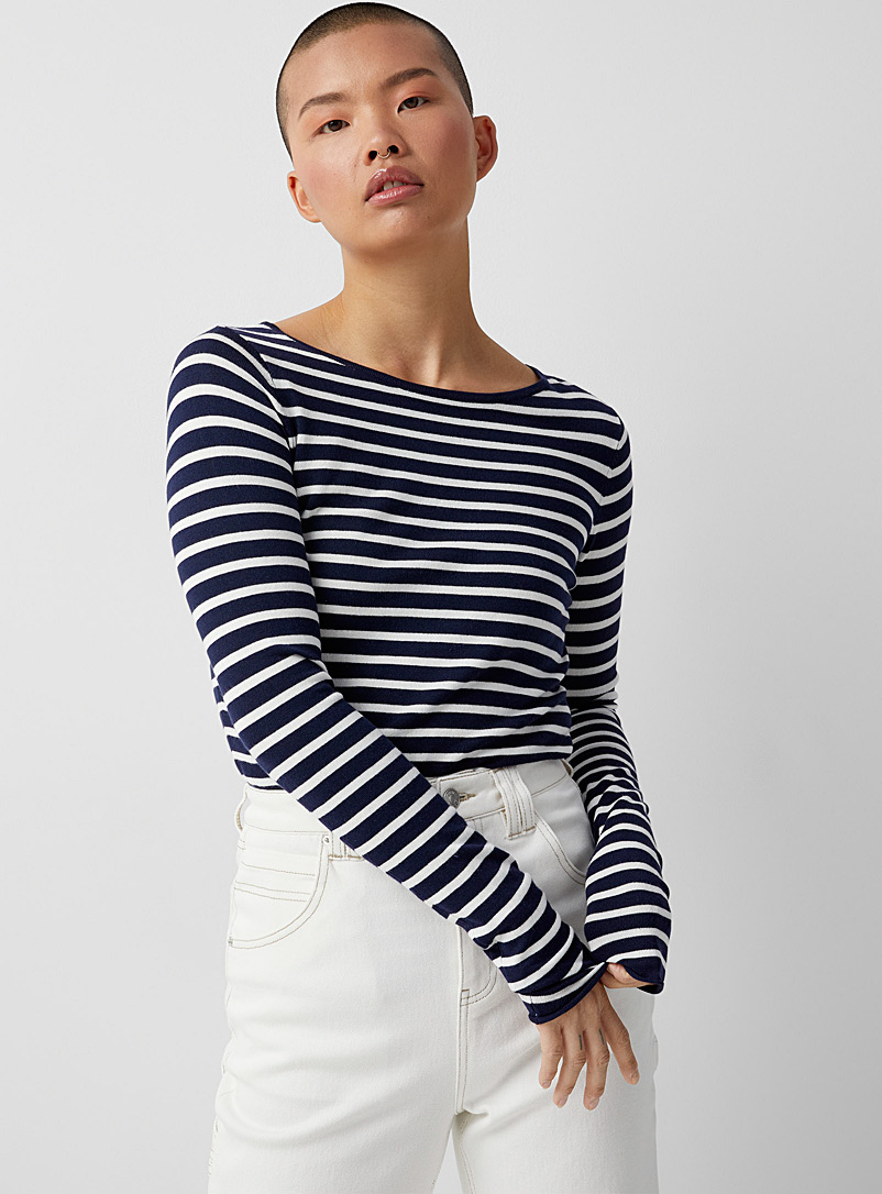 Twik Marine Blue Fine stripe boat-neck sweater for women