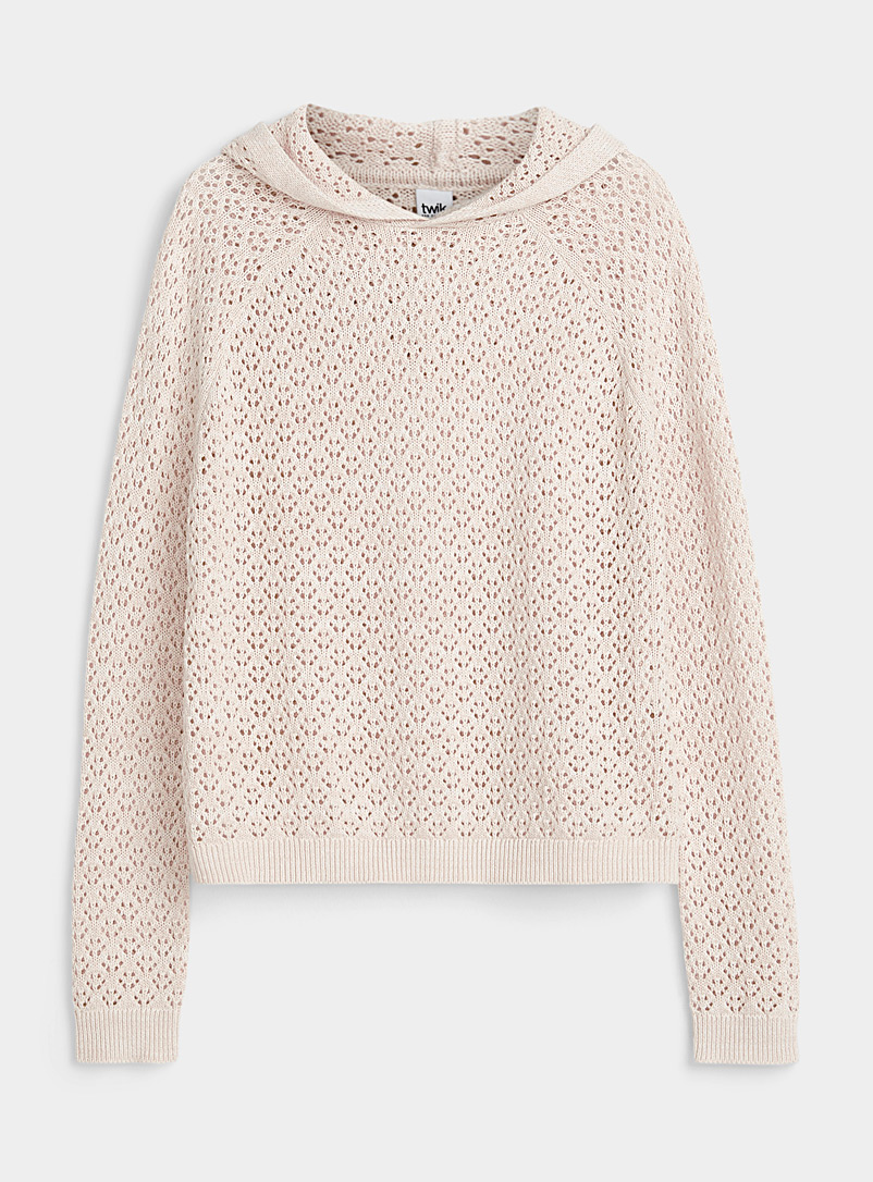 Twik Cream Beige Pointelle knit hooded sweater for women