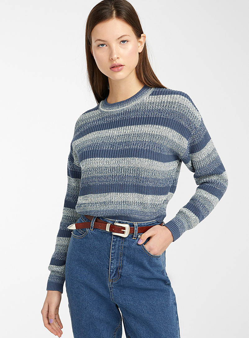 Twik Blue Striped and ribbed cropped sweater for women