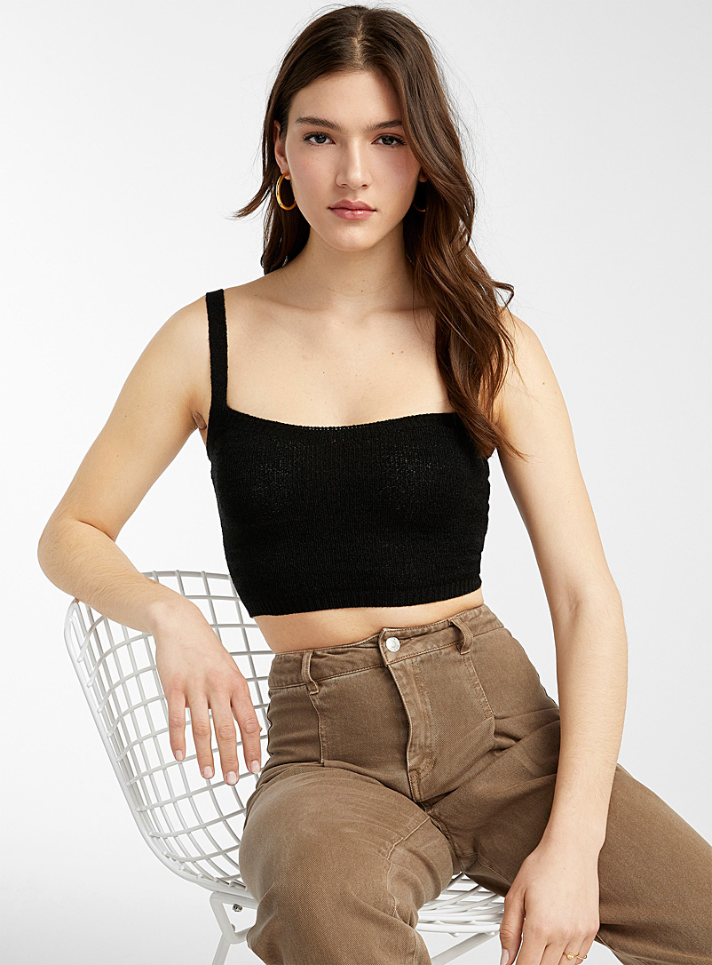 Twik Black Ribbon-knit ultra cropped cami for women