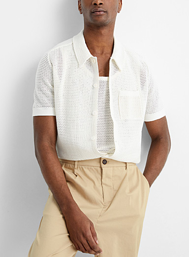Pointelle knit shirt