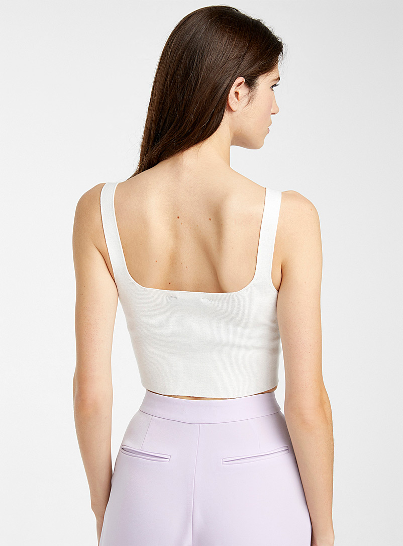 Icône White Crossover band cropped cami for women
