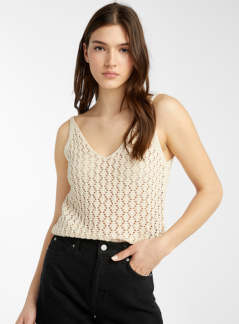 Twik Cream Beige Pointelle knit V neck cami for women