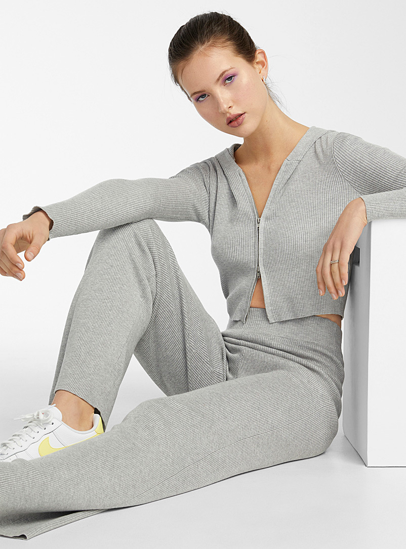Twik Light Grey Hooded and ribbed zip-up sweater for women