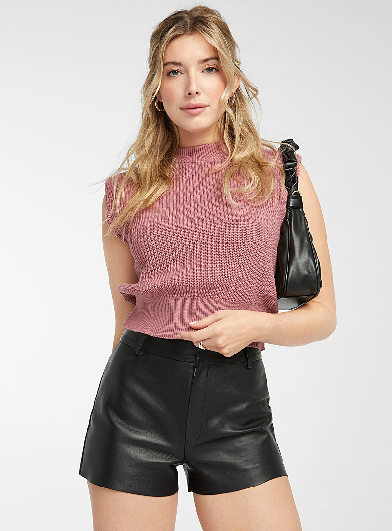 Icône Pink Shoulder-pad sleeveless sweater for women