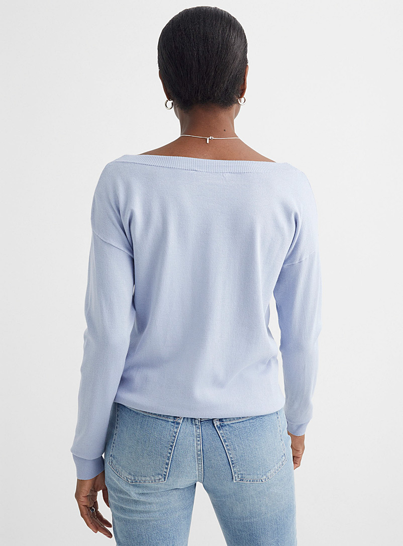 Contemporaine Baby Blue Fine knit boatneck sweater for women