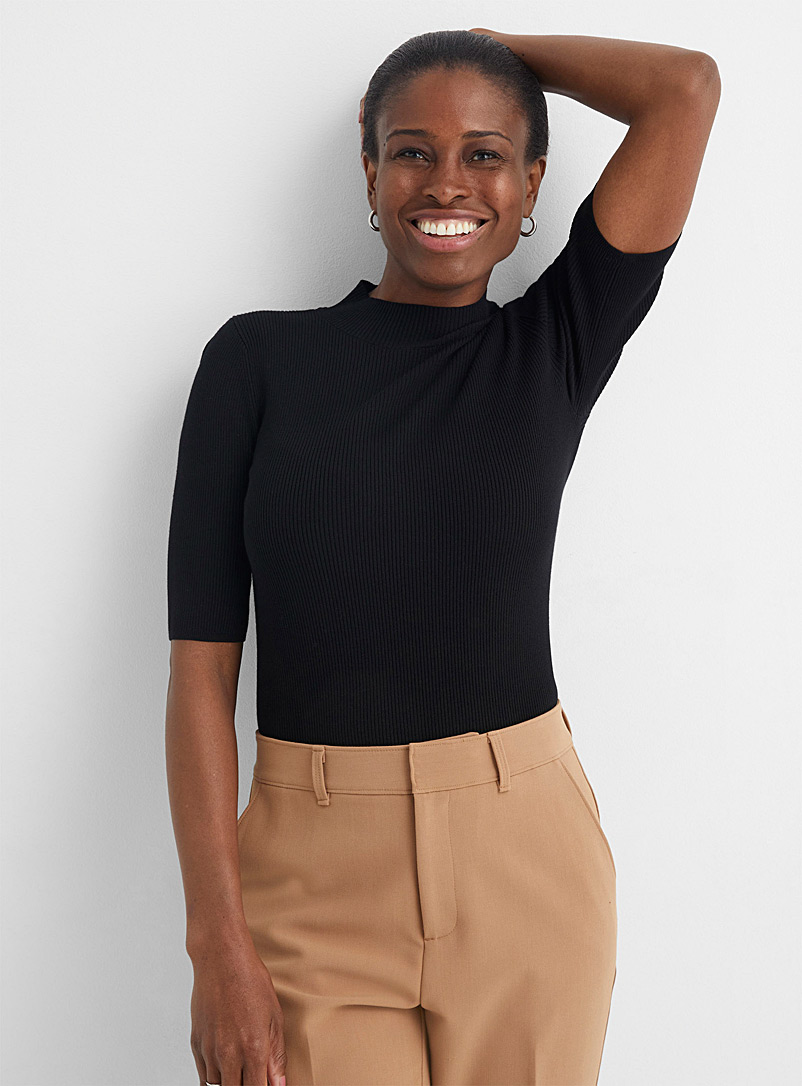 Contemporaine Black Ribbed slim-fit mock-neck sweater for women