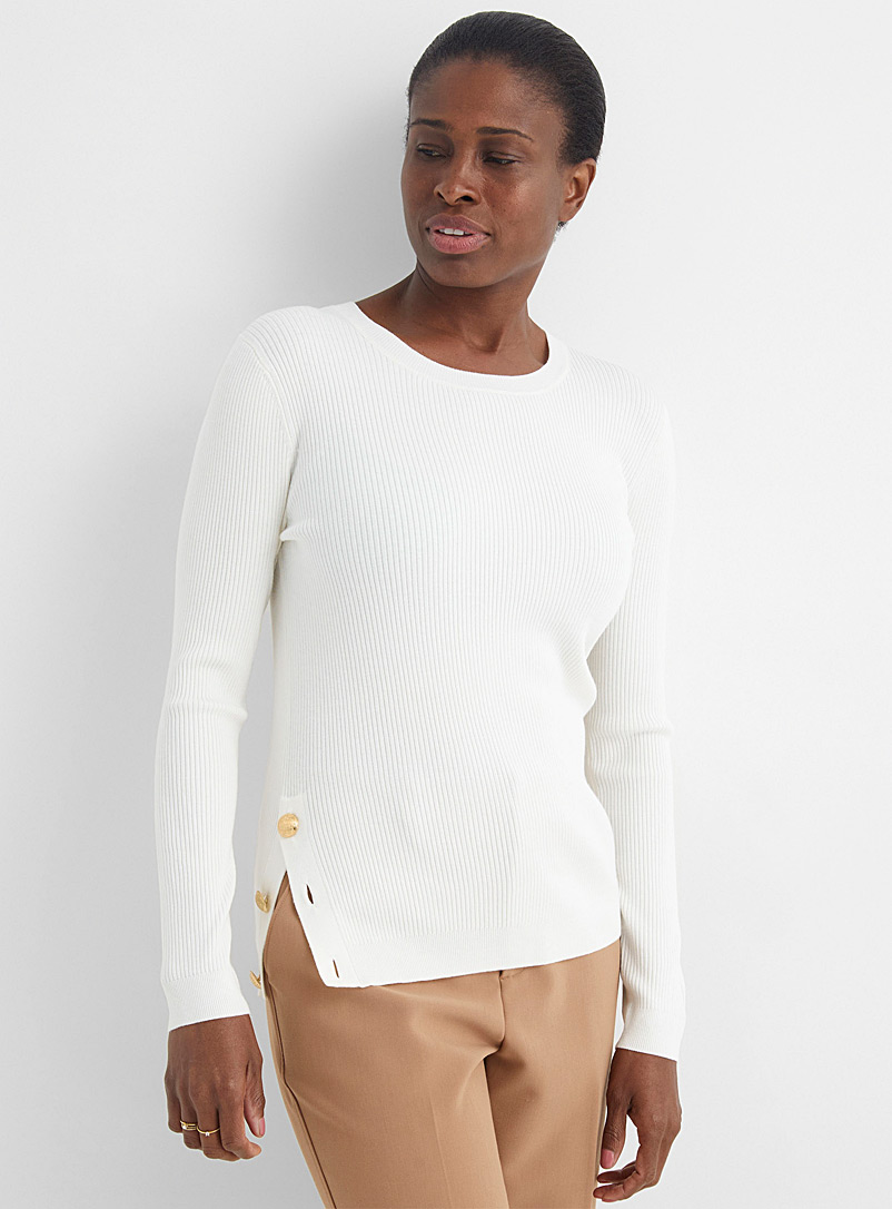 Contemporaine Ivory White Side-button ribbed sweater for women