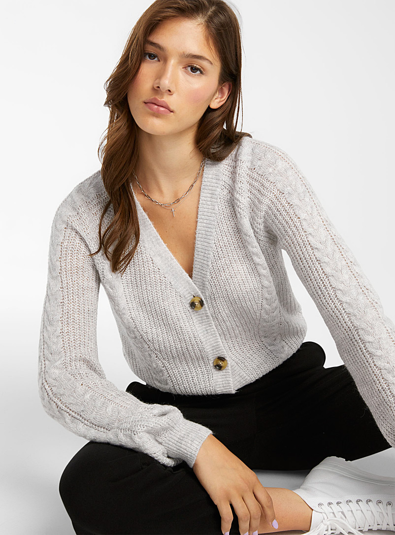 Twik Light Grey Ribbed and twisted V-neck cardigan for women