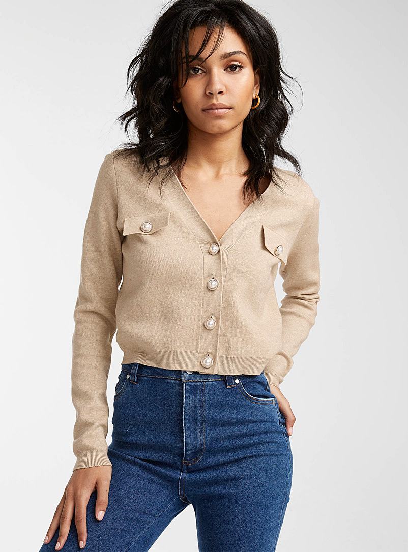 Icône Sand Precious button cropped cardigan for women