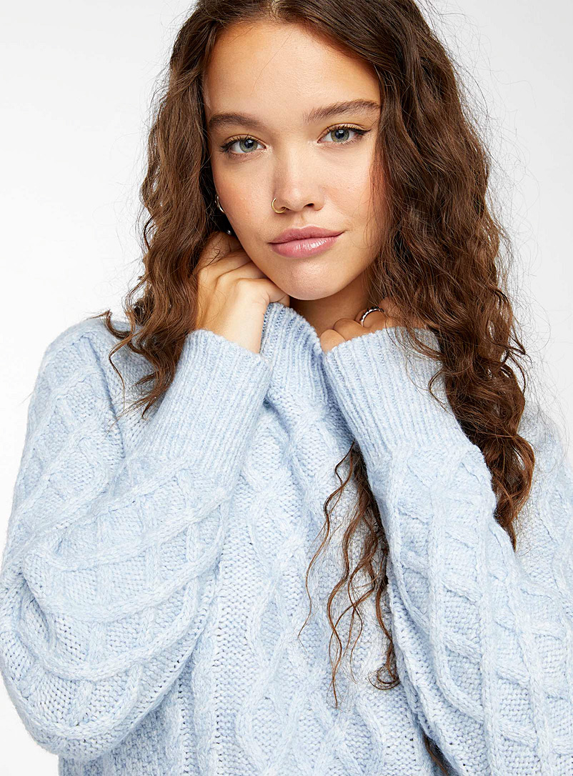 Twik Baby Blue Long cable-and-twist sweater for women