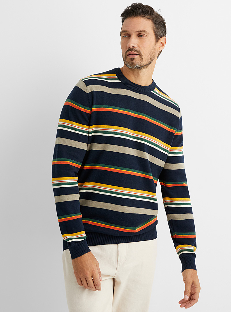 Le 31 Marine Blue Recycled cotton mixed-stripe sweater for men