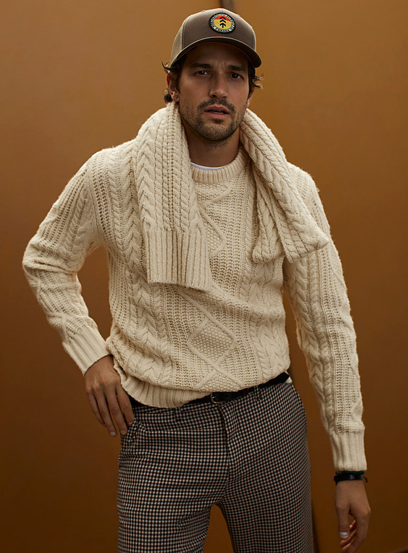 Le 31 Ivory White Sailor cable-and-rib sweater for men