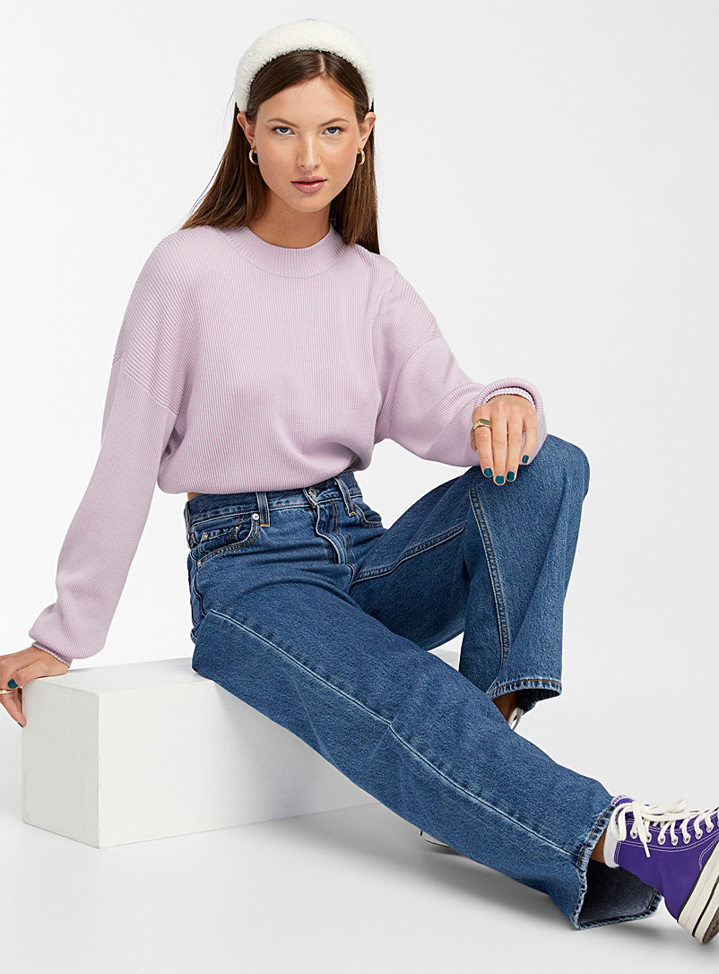 Twik Lilacs Elastic-waist ribbed cropped mock-neck for women