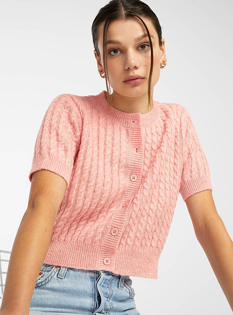 Twik Pink Cropped mini-cable cardigan for women