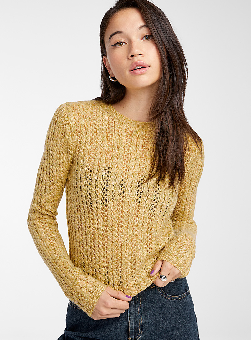 Twik Dark Yellow Openwork cable knit sweater for women