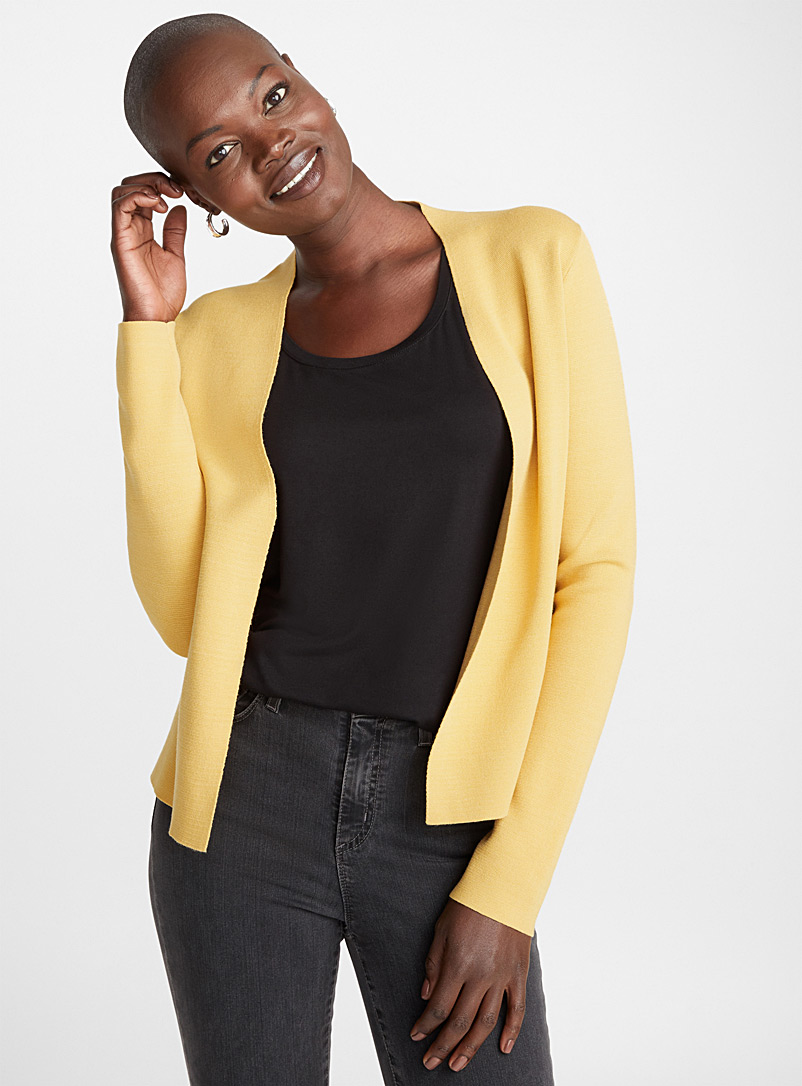 Contemporaine Dark Yellow Minimalist open cardigan for women