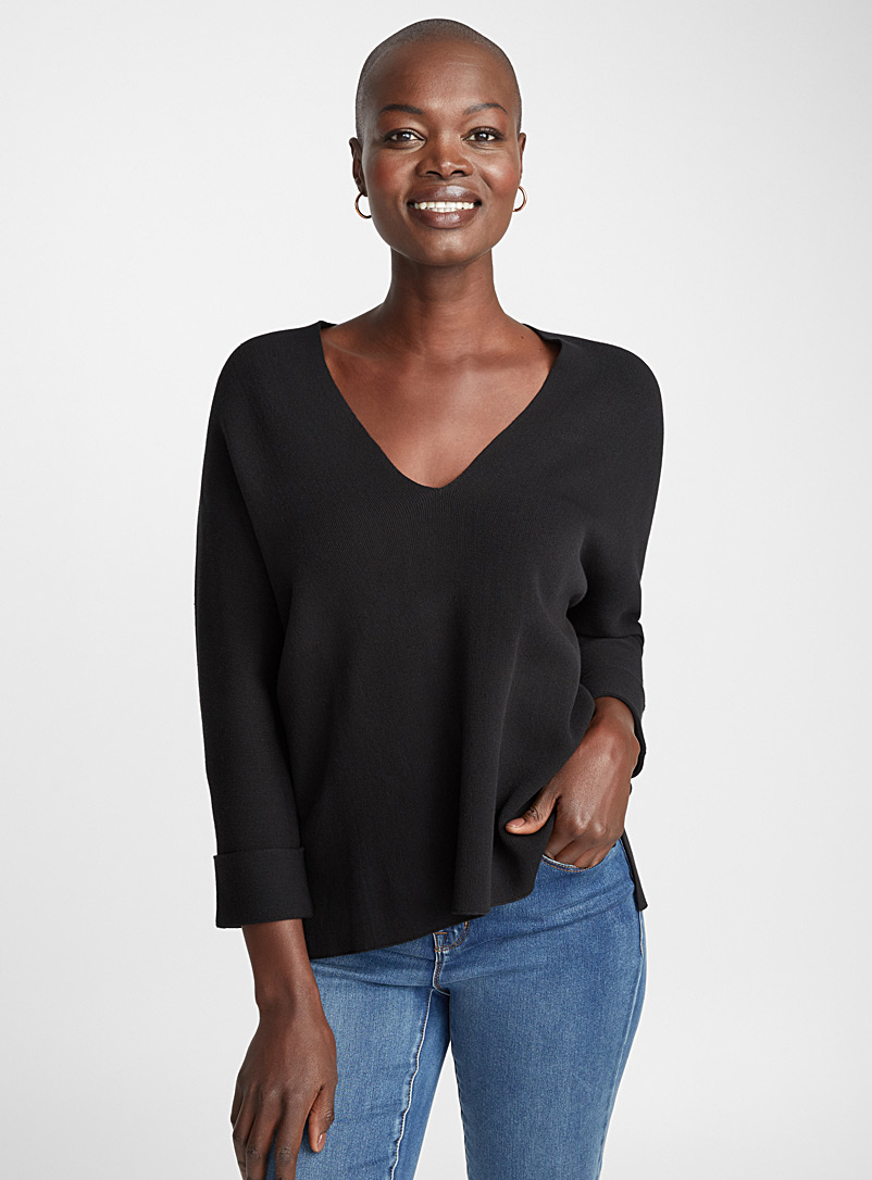 Batwing-sleeve V-neck sweater - Sweaters - Black