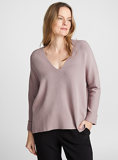 Batwing-sleeve V-neck sweater