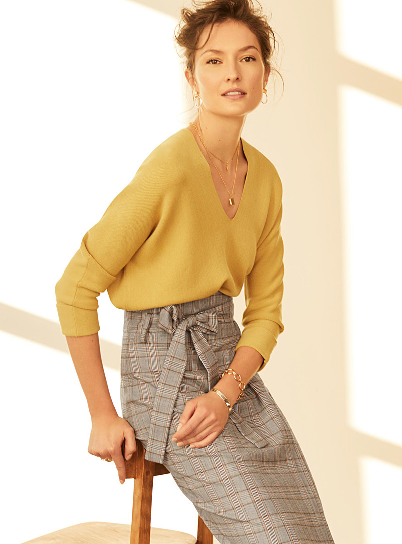 Batwing-sleeve V-neck sweater - Sweaters - Dark Yellow