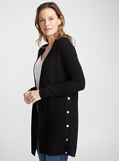 Silver-button ribbed cardigan
