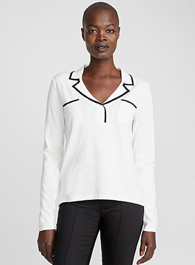 Contrast trim notch collar sweater