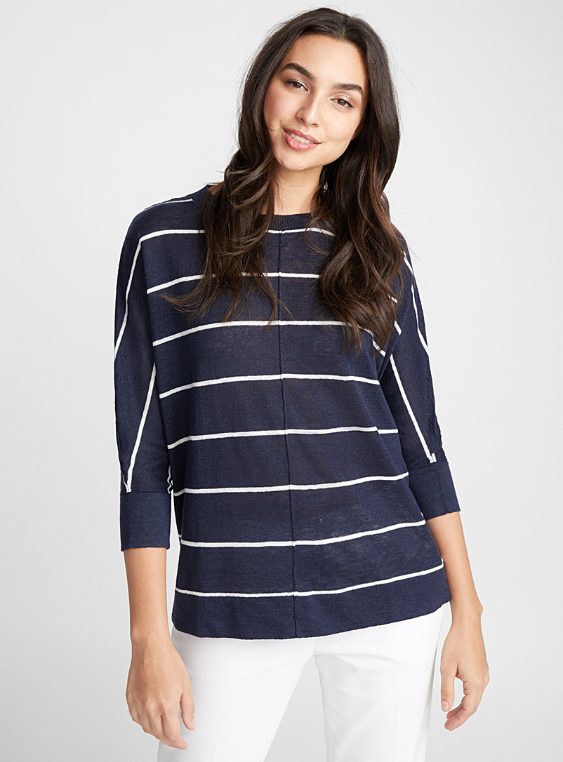 Pin tuck linen sweater - Sweaters - Marine Blue
