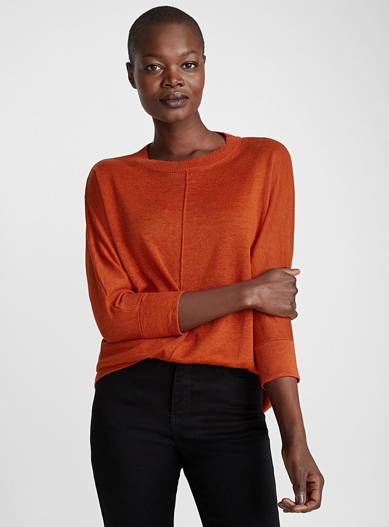 Pin tuck linen sweater - Sweaters - Dark Orange