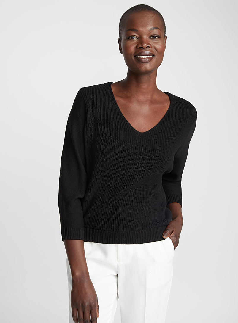 Textured 3/4 sleeve knit sweater - Sweaters - Black