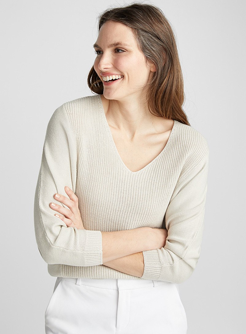 Textured ¾ sleeve knit sweater - Sweaters - Sand