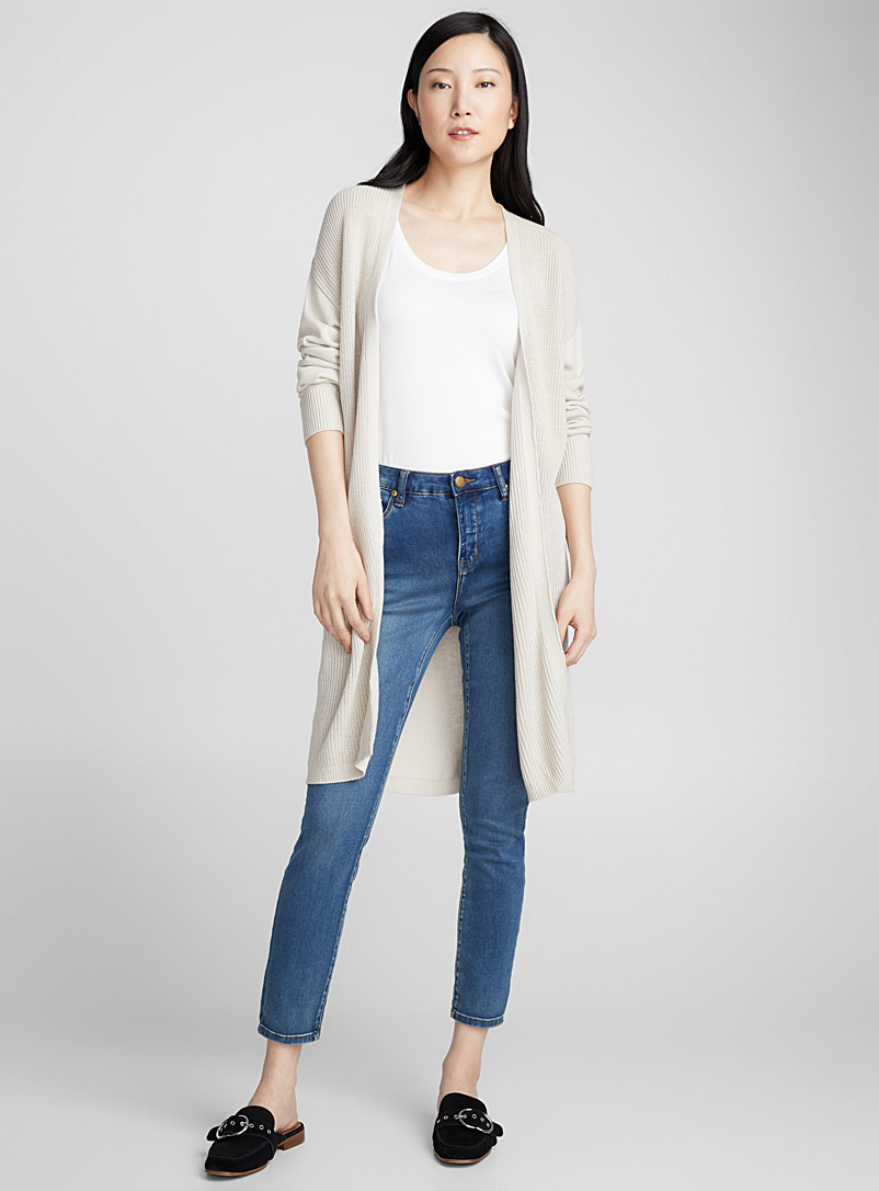 Long open ribbed cardigan - Cardigans - Sand