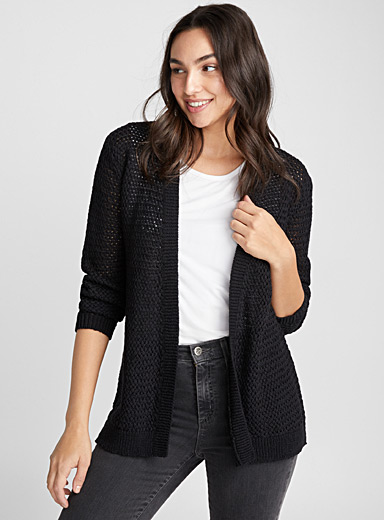 Le cardigan ouvert maille ruban