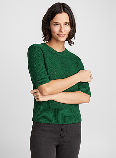 Le pull maille ruban manches courtes