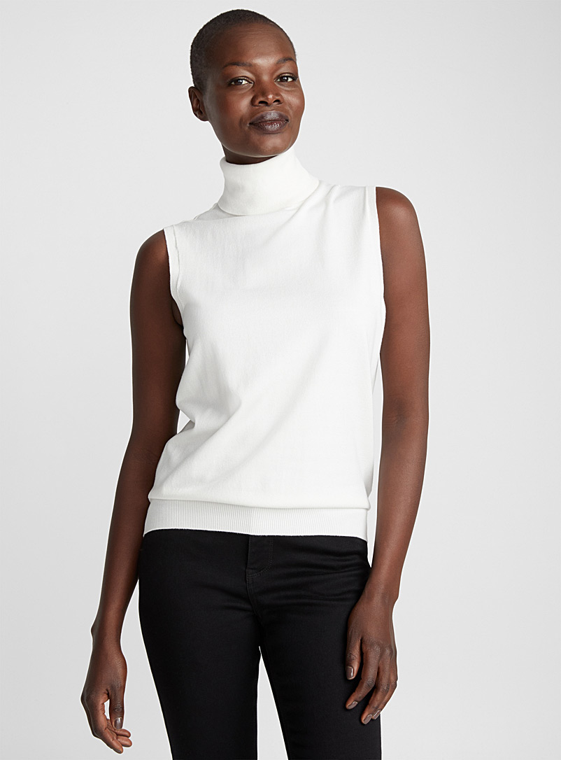 Contemporaine Ivory White Fine knit sleeveless turtleneck for women