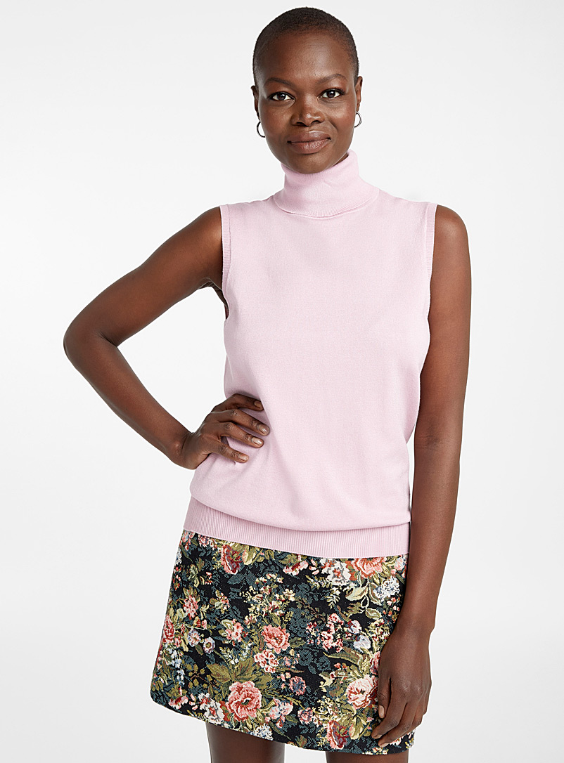 Fine knit sleeveless turtleneck - Sweaters - Pink