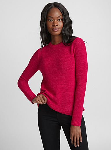 Ribbon-knit crew neck sweater