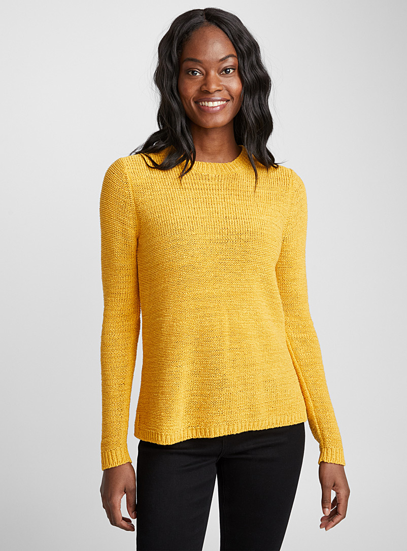 Ribbon-knit crew neck sweater - Sweaters - Golden Yellow