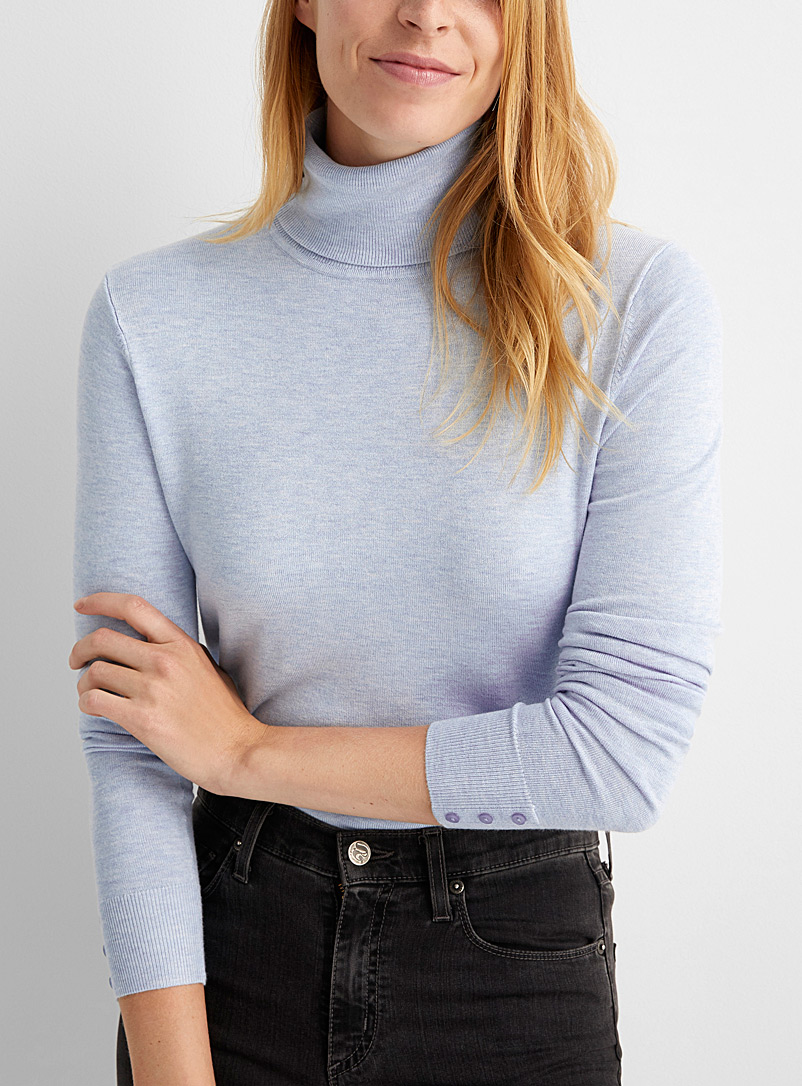 Contemporaine Teal Button-cuff turtleneck sweater for women