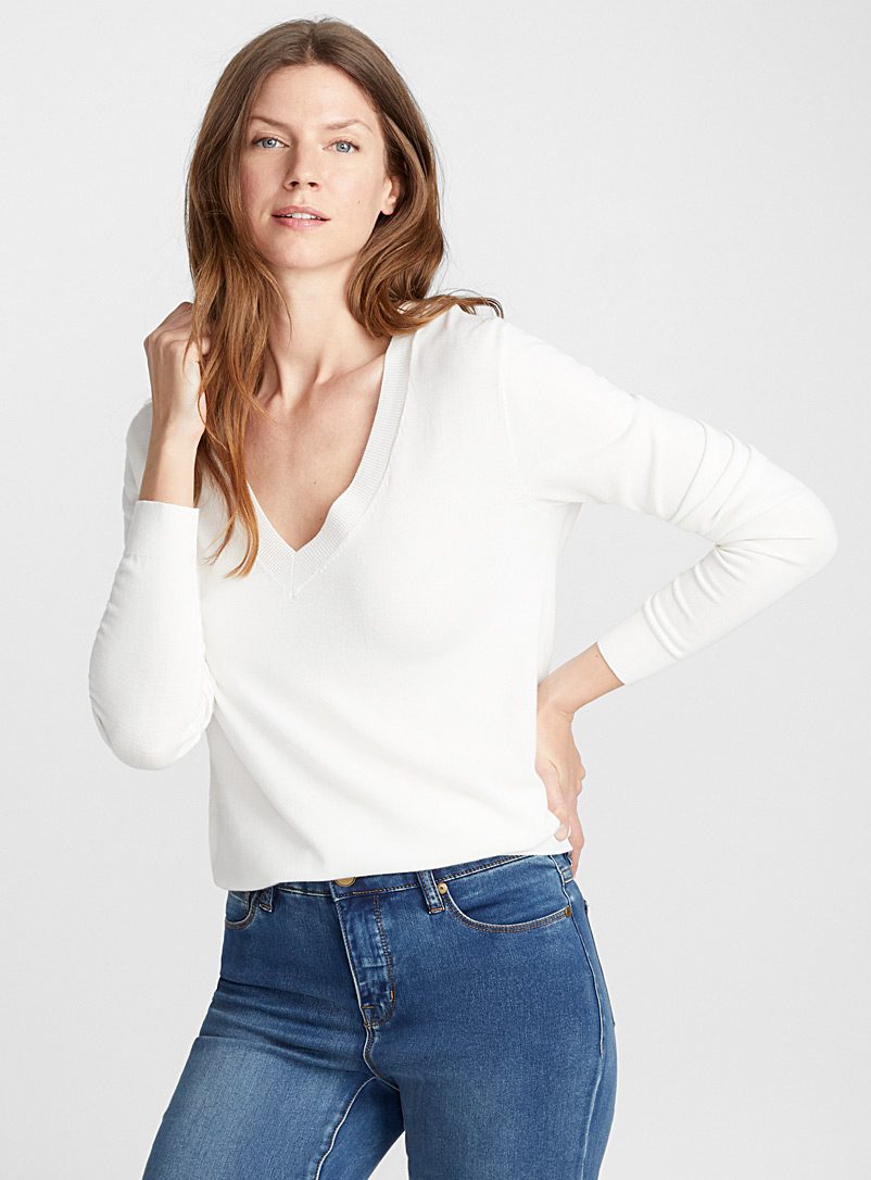 Le pull col V fin tricot - Pulls - Ivoire blanc os