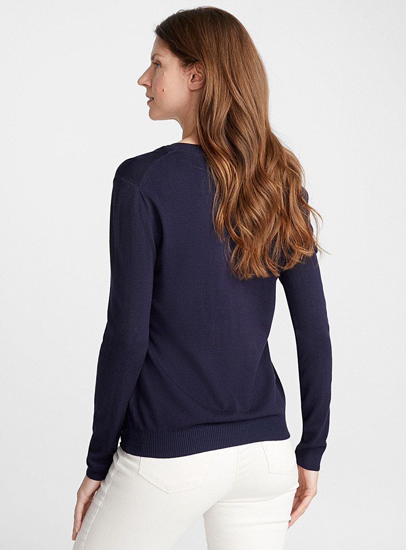 Contemporaine Marine Blue Fine knit V-neck sweater for women