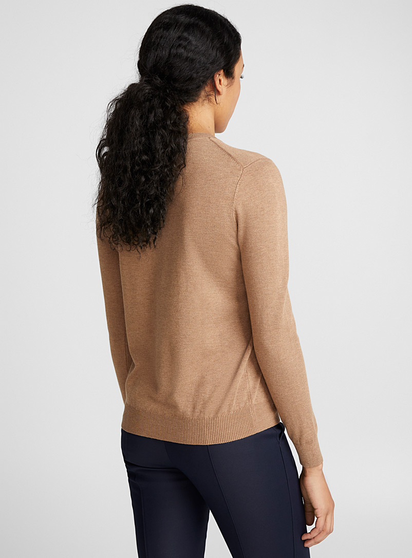 Fine knit crew-neck sweater - Sweaters - Light Brown