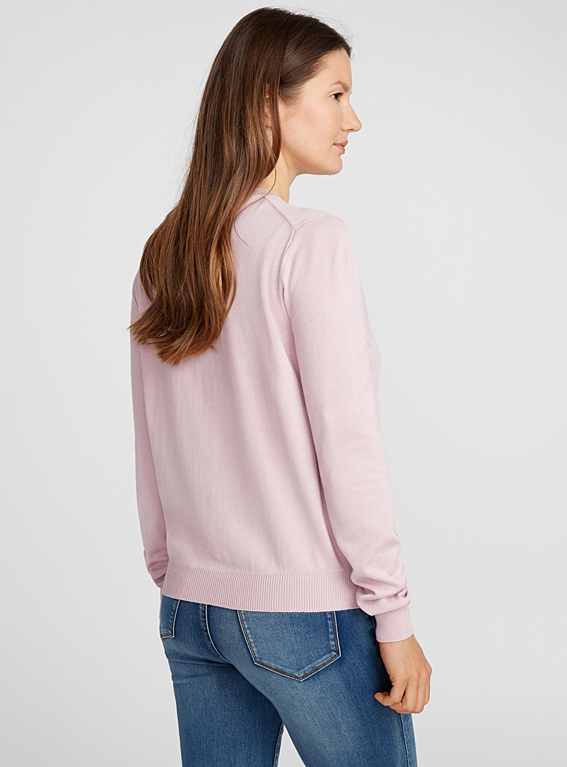 Fine knit buttoned cardigan - Cardigans - Pink