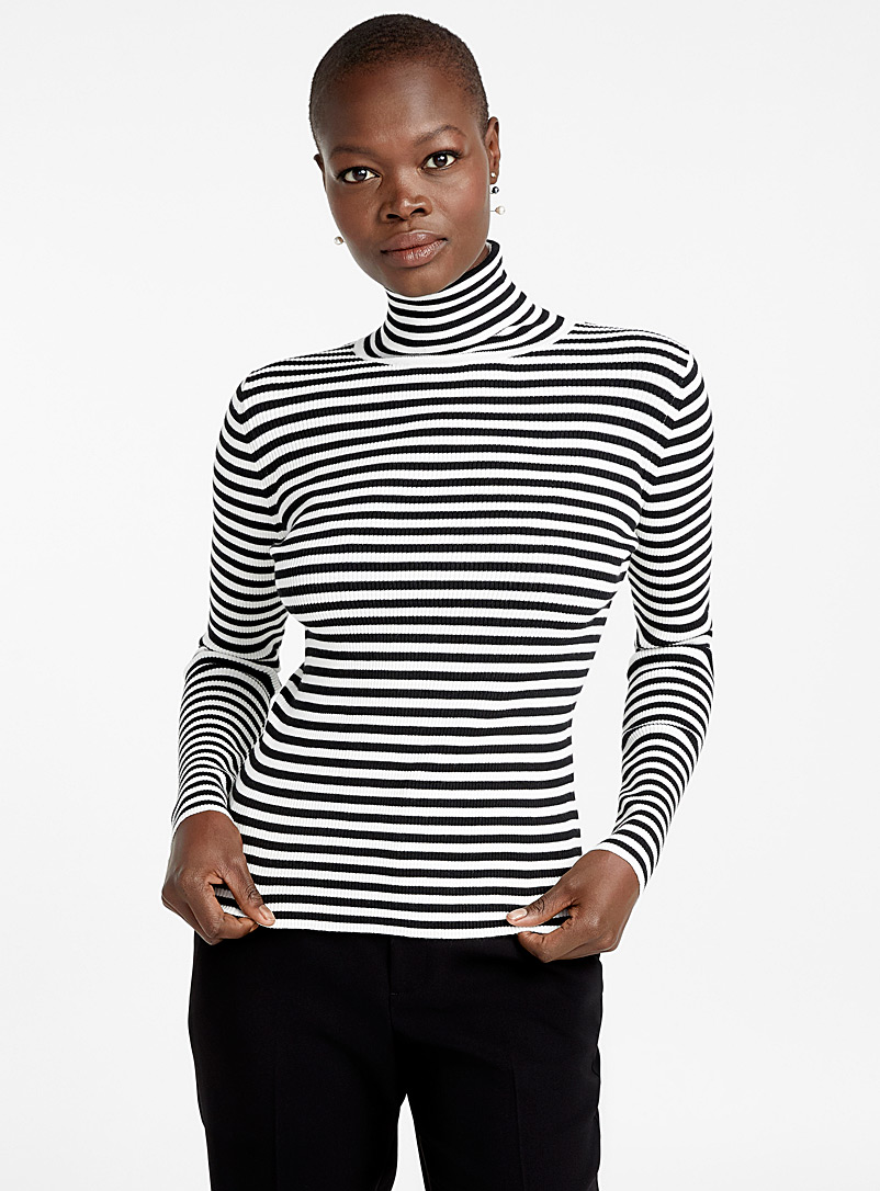 Two-tone stripe ribbed turtleneck - Sweaters - Ivory White