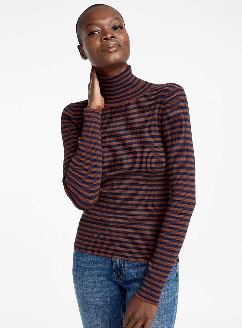 Two-tone stripe ribbed turtleneck - Sweaters - Fawn