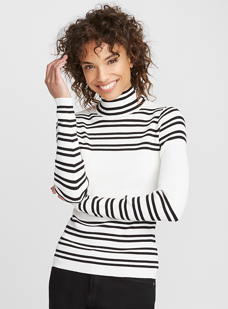 Accent stripe high-neck sweater - Sweaters - Ivory White