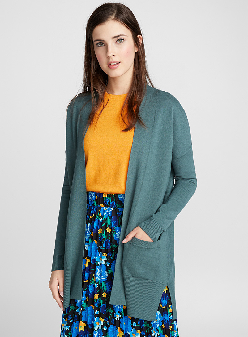 Viscose-accent open cardigan - Cardigans - Mossy Green