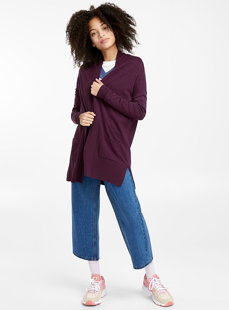 Viscose-accent open cardigan - Cardigans - Crimson