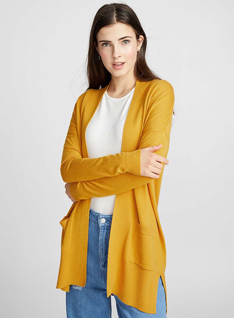 Le cardigan ouvert accent viscose - Cardigans - Jaune or