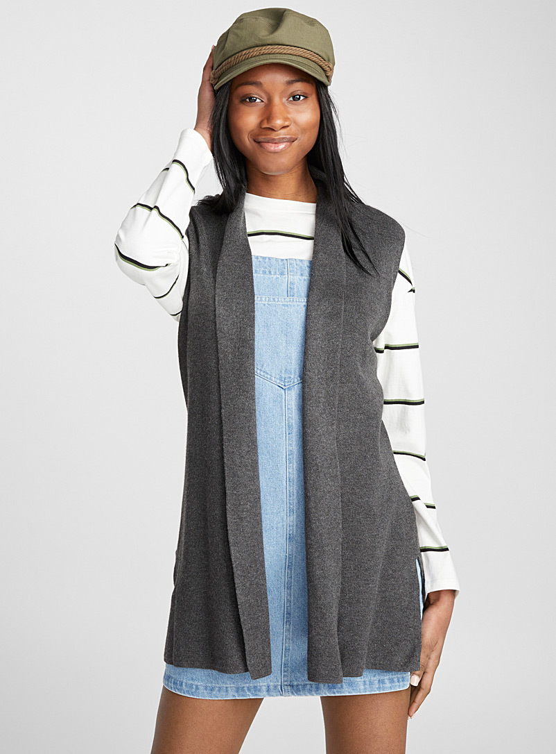 Sleeveless viscose cardigan - Cardigans - Charcoal
